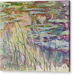 Reflections On The Water Acrylic Print by Claude Monet