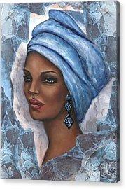 Regal Lady In Blue Acrylic Print by Alga Washington