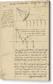 Register Of Milan Cathedral Weight And Study Of Relationship Between Position Of Beam Acrylic Print by Leonardo Da Vinci