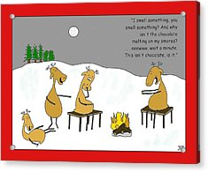 Reindeer Smores Christmas Card Acrylic Print by Manly Thweatt