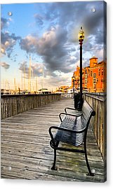 Relax And Watch The Sunset In Boston Acrylic Print by Mark E Tisdale