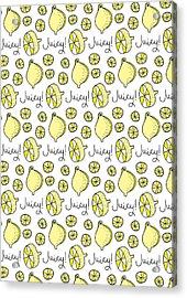Repeat Prtin - Juicy Lemon Acrylic Print by Susan Claire