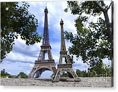 Replica Eiffel Tower Next To The Real Eiffel Tower Acrylic Print by Bernard Jaubert