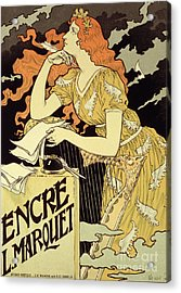 Reproduction Of A Poster Advertising 'marquet Ink' Acrylic Print by Eugene Grasset