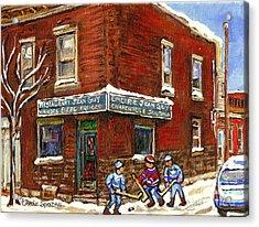 Restaurant Epicerie Jean Guy Pointe St. Charles Montreal Art Verdun Winter Scenes Hockey Paintings   Acrylic Print by Carole Spandau