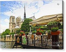 Restaurant On Seine Acrylic Print by Elena Elisseeva