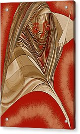 Resting Woman - Portrait In Red Acrylic Print by Ben and Raisa Gertsberg