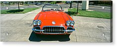 Restored Red 1959 Corvette, Front View Acrylic Print by Panoramic Images