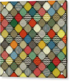 Retro Buttoned Patches Acrylic Print by Sharon Turner