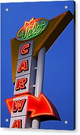 Retro Car Wash Sign Acrylic Print by Norman Pogson