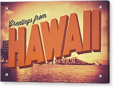 Retro Greetings From Hawaii Postcard Acrylic Print by Mr Doomits
