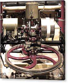 Retro Mercedes Engine Acrylic Print by Radoslav Nedelchev