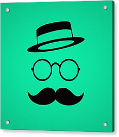 Retro Minimal Vintage Face With Moustache And Glasses Acrylic Print by Philipp Rietz