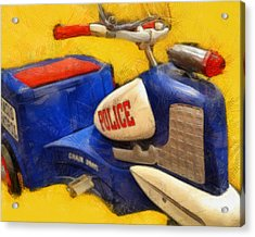 Retro Police Tricycle Acrylic Print by Michelle Calkins