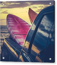 Retro Surf Boards In Truck Acrylic Print by Mr Doomits