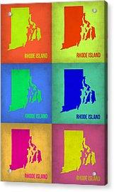 Rhode Island Pop Art Map 1 Acrylic Print by Naxart Studio