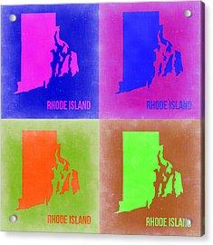 Rhode Island Pop Art Map 2 Acrylic Print by Naxart Studio