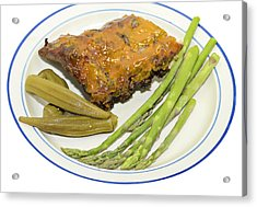 Ribs Plate With Vegetables Acrylic Print by Susan Leggett
