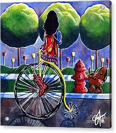 Riding Grandmas Bike Acrylic Print by Jackie Carpenter