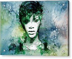 Rihanna 4 Acrylic Print by Bekim Art