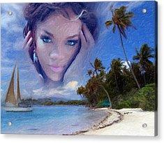 Rihanna Acrylic Print by Anthony Caruso