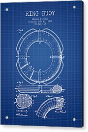 Ring Buoy Patent From 1909 - Blueprint Acrylic Print by Aged Pixel