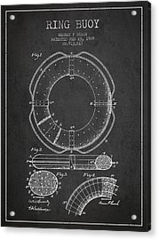 Ring Buoy Patent From 1909 - Charcoal Acrylic Print by Aged Pixel