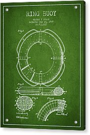 Ring Buoy Patent From 1909 - Green Acrylic Print by Aged Pixel