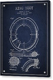 Ring Buoy Patent From 1909 - Navy Blue Acrylic Print by Aged Pixel