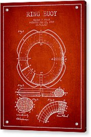 Ring Buoy Patent From 1909 - Red Acrylic Print by Aged Pixel
