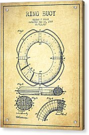 Ring Buoy Patent From 1909 - Vintage Acrylic Print by Aged Pixel
