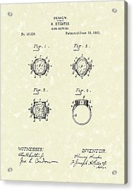 Ring Setting 1885 Patent Art Acrylic Print by Prior Art Design