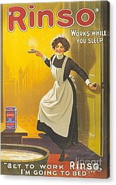 Rinso 1910s Uk Washing Powder Maids Acrylic Print by The Advertising Archives