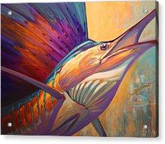 Rising Son - Contemporary Sailfish Painting Acrylic Print by Savlen Art