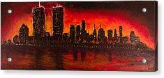 Rising Sun At Nyc Acrylic Print by Coqle Aragrev