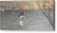 River Fishing In The Snow Acrylic Print by Brent Dolliver