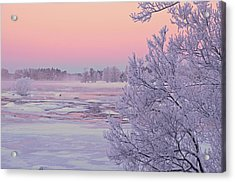 River In Winter Acrylic Print by Conny Sjostrom
