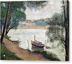 River Landscape With A Boat Acrylic Print by Georges Pierre Seurat