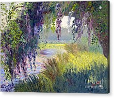 River Through The Moss Acrylic Print by Patricia Huff