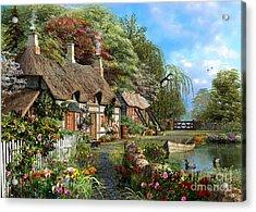 Riverside Home In Bloom Acrylic Print by Dominic Davison