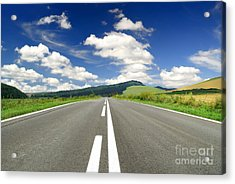 Road And Beautiful Sky Acrylic Print by Boon Mee