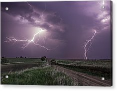 Road To Nowhere - Lightning Acrylic Print by Aaron J Groen