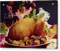 Roast Turkey With Potatoes Acrylic Print by The Irish Image Collection
