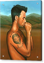 Robbie Williams Angels Painting Acrylic Print by Paul Meijering