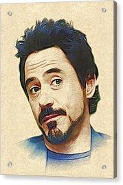 Robert Downey Jr. Acrylic Print by Marina Likholat