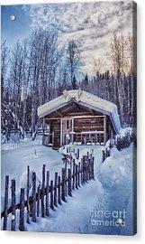 Robert Service Cabin Winter Idyll Acrylic Print by Priska Wettstein