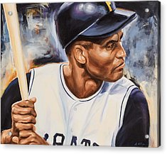 Roberto Clemente Acrylic Print by Angie Villegas