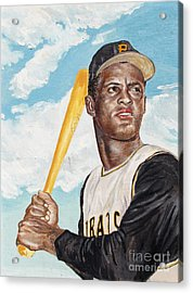 Roberto Clemente Acrylic Print by Philip Lee