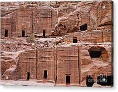 Rock Cut Tombs On The Street Of Facades In Petra Jordan Acrylic Print by Robert Preston