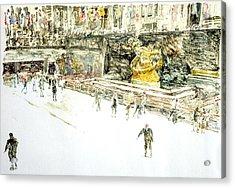 Rockefeller Center Skaters Acrylic Print by Anthony Butera
